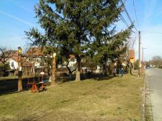 Děti uklízí Podomí - vyhrabování parku.